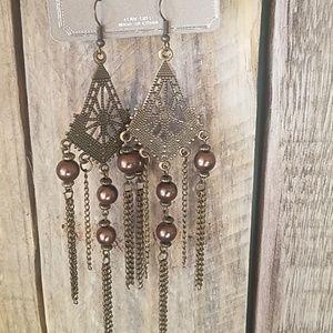 Antique gold & copper pearl dangle earrings